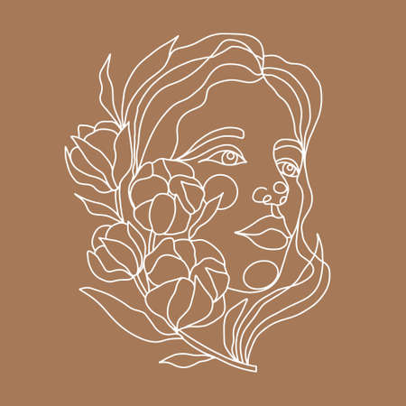 Illustration pour Drawing of a woman face with a branch of cotton in a continuous line style. Fashion concept, minimalist beauty of a woman with graceful linear pattern. Abstract floral elements and woman portrait. - image libre de droit
