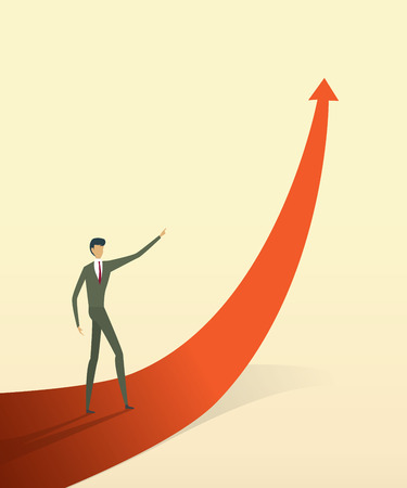 Vektor für Business people with on arrow go path to goal or target, symbol of growth concept Vector illustration - Lizenzfreies Bild