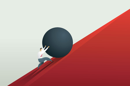 Illustration pour Businessman pushing boulder up to hill and hard work challenge. Concept illustration vector. - image libre de droit