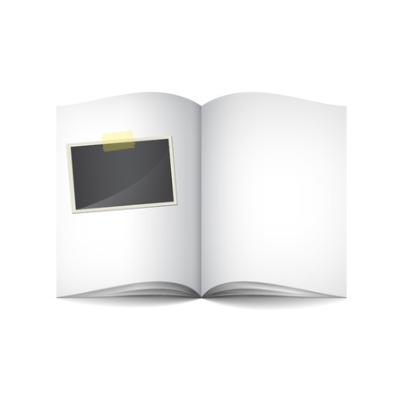 Open book with blank photo