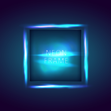 Illustration pour Neon sign. Square frame with glowing and light. Neon abstract background. vector banner for text - image libre de droit