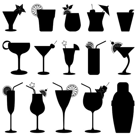 Illustration for Cocktail Drink Fruit Juice Silhouette - Royalty Free Image