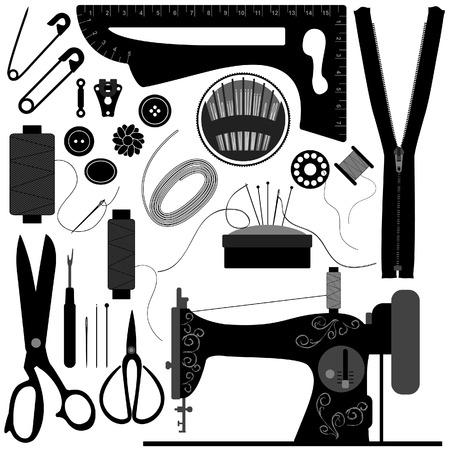 Illustration pour Sewing Tailor Retro Black - image libre de droit
