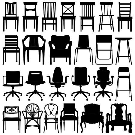 Chair Black Silhouette Set