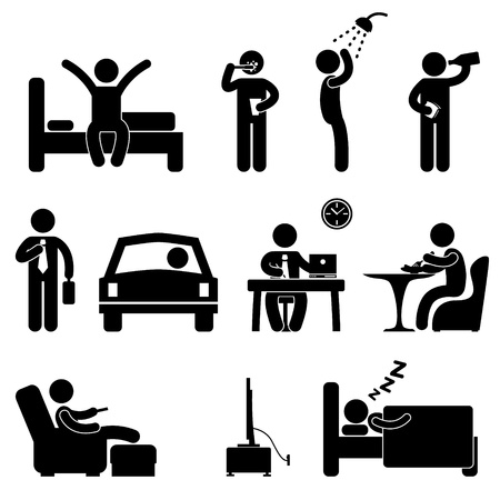 Illustration pour Man Daily Routine People Icon Sign Symbol Pictogram - image libre de droit