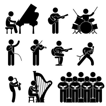 Illustration pour Musician Pianist Guitarist Choir Drummer Singer Concert - image libre de droit