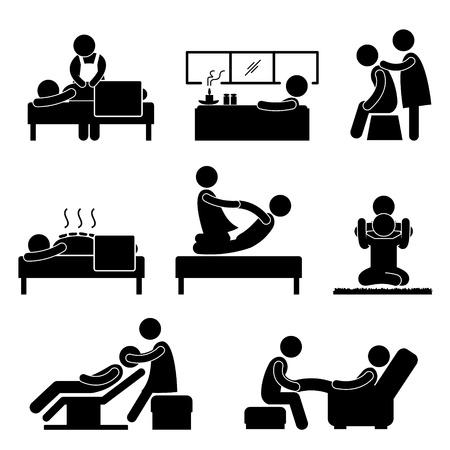 Ilustración de Massage Spa Therapy Wellness Aromatherapy Icon Sign Pictogram - Imagen libre de derechos