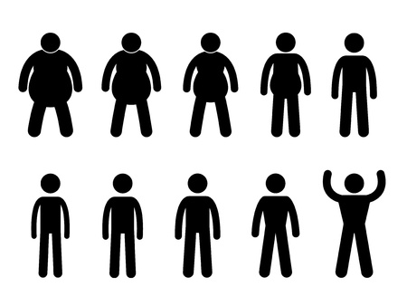 Fat to Thin Process and Thin to Muscular Concept Icon Symbol Sign Pictogram