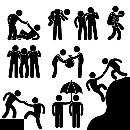Illustration pour Business Friend Helping Each Other Icon Symbol Sign Pictogram - image libre de droit
