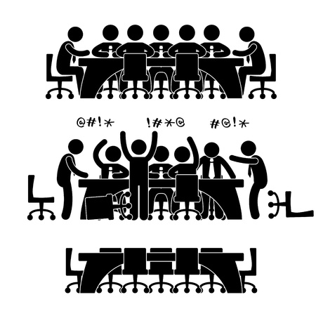 Illustration pour Business Meeting Discussion Brainstorm Workplace Office Situation Scenario Pictogram Concept - image libre de droit