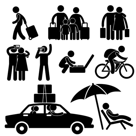 Foto de Family Couple Tourist Travel Vacation Trip Holiday Honeymoon Icon Symbol Sign Pictogram - Imagen libre de derechos