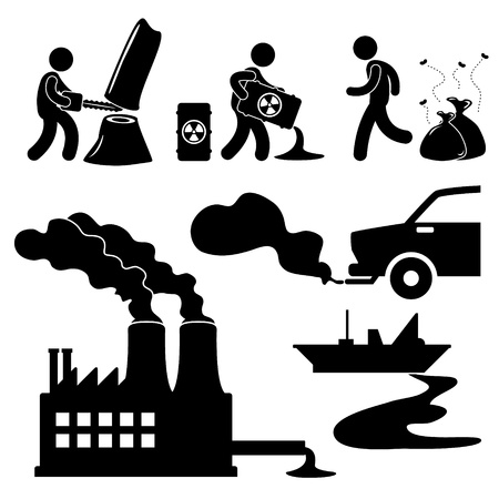 Global Warming Illegal Pollution Destroying Green Environment Concept Icon Symbol Sign Pictogram