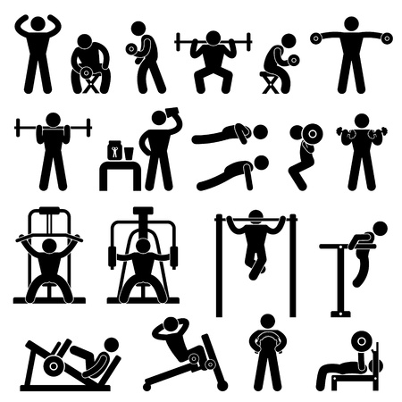 Illustration pour Gym Gymnasium Body Building Exercise Training Fitness Workout - image libre de droit