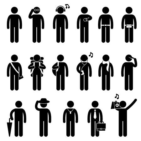 Ilustración de People Man Male Fashion Wear Body Accessories Icon Symbol Sign Pictogram - Imagen libre de derechos