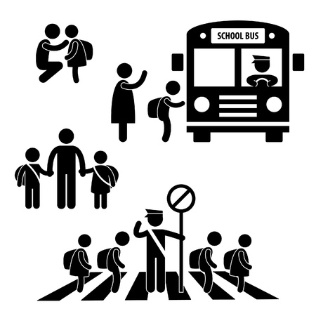 Illustration pour Student Pupil Children Back to School Bus Crossing Road Traffic Police Icon Symbol Sign Pictogram - image libre de droit