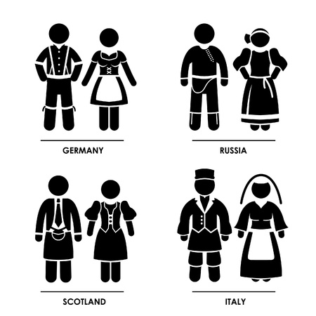 Europe - Germany Russia Scotland Italy Man Woman People National Traditional Costume Dress Clothing Icon Symbol Sign Pictogram