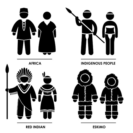 Africa Indigenous People Red Indian Eskimo Man Woman People National Traditional Costume Dress Clothing Icon Symbol Sign Pictogram