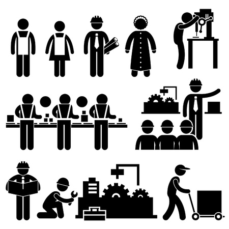 Factory Worker Engineer Manager Supervisor Working Stick Figure Pictogram Icon
