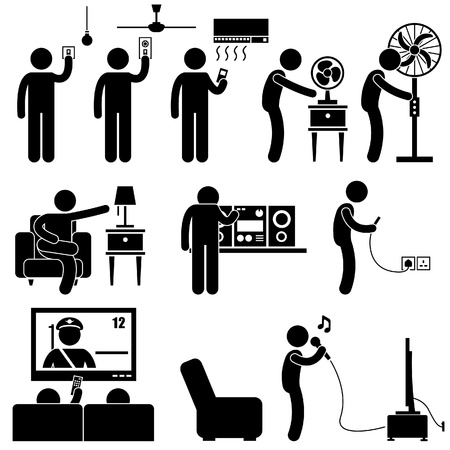 Man Using Home Appliances Entertainment Leisure Electronics Equipments Stick Figure Pictogram Icon