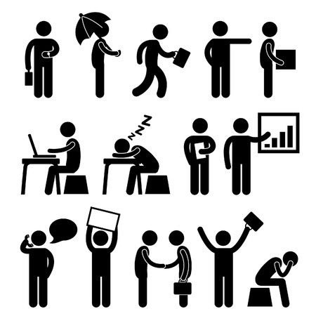 Ilustración de Business Finance Office Workplace People Man Working Icon Symbol Sign - Imagen libre de derechos