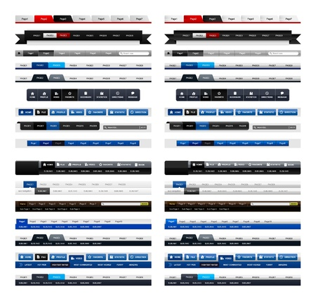 Web Design Menu Navigation Bar Website Header Element Glossy and Matte
