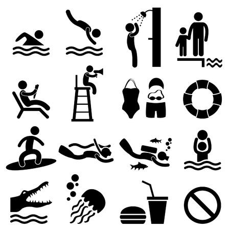 Ilustración de Man People Swimming Pool Sea Beach Sign Symbol Pictogram Icon - Imagen libre de derechos