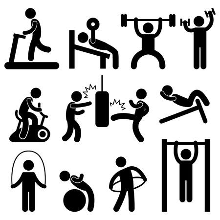 Ilustración de Man People Athletic Gym Gymnasium Body Building Exercise Healthy Training Workout Sign Symbol Pictogram Icon - Imagen libre de derechos