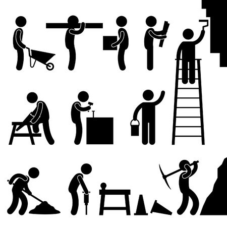 Illustration pour Man People Working Construction Carrying Building Industry Painting Sawing Hard Labor Pictogram Icon Symbol Sign - image libre de droit