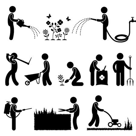 Illustration pour Man People Gardening Work Watering Plant Flower Cutting Fertilizer Insecticide Grass Pictogram Icon Symbol Sign - image libre de droit