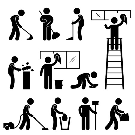 Illustration pour Man People Cleaning Washing Wiping Sweeping Vacuum Cleaner Worker Pictogram Icon Symbol Sign - image libre de droit
