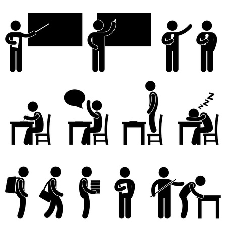 School Teacher Student class classroom Education Symbol Sign Icon Pictogram