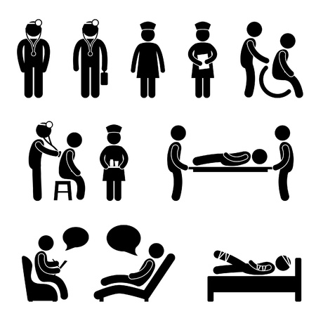 Illustration pour Doctor Nurse Hospital Medical Psychiatrist Patient Sick Icon Sign Symbol Pictogram - image libre de droit