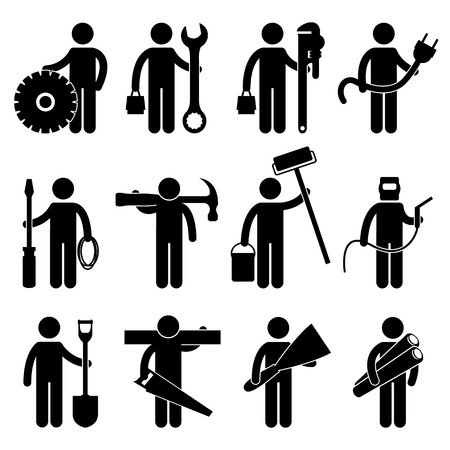 Illustration pour Engineer Mechanic Plumber Electrician Wireman Carpenter Painter Welder Construction Architect Job Occupation Sign Pictogram Symbol Icon - image libre de droit