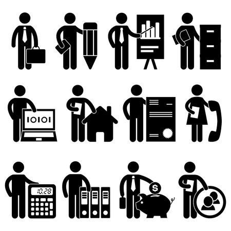 Ilustración de Businessman Writer Analyst Bookkeeper Programmer Real Estate Agent Lawyer Secretary Accountant Banker Manager Job Occupation Sign Pictogram Symbol Icon - Imagen libre de derechos