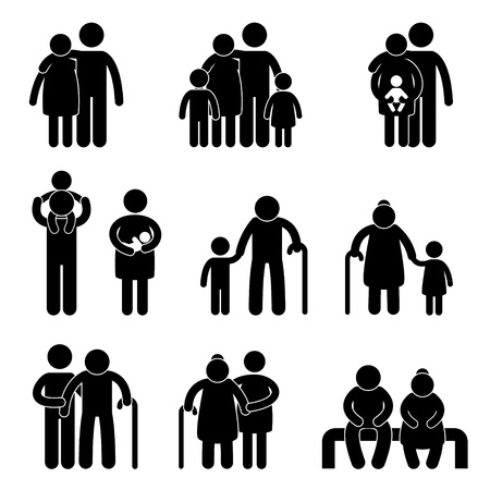 Illustration pour Happy Family Father Mother Grandmother Grandfather Children Son Daughter Baby Infant Toddler Old Man Woman Grandchildren Husband Wife Parent Together Icon Sign Symbol Pictogram - image libre de droit