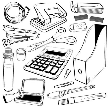 Office Tape Punch Hole Stapler Scissor Calculator Gum Glue Company Stamp Chop Folder Pen Market Clip Doodle Sketch Tool Equipment