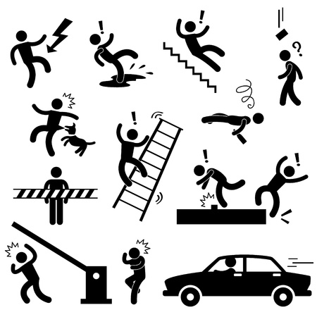 Illustration pour Caution Safety Danger Electricity Shock Slippery Fall Car Accident Icon Sign Symbol Pictogram - image libre de droit