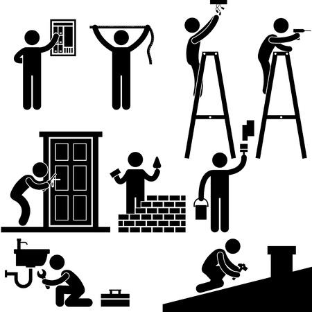 Ilustración de Handyman Electrician Locksmith Contractor Working Fixing Repair House Light Roof Icon Symbol Sign Pictogram - Imagen libre de derechos