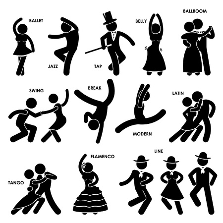 Illustration pour Dancing Dancer Ballet Jazz Tap Belly Ballroom Swing Break Modern Latin Tango Flamenco Line Stick Figure Pictogram Icon - image libre de droit