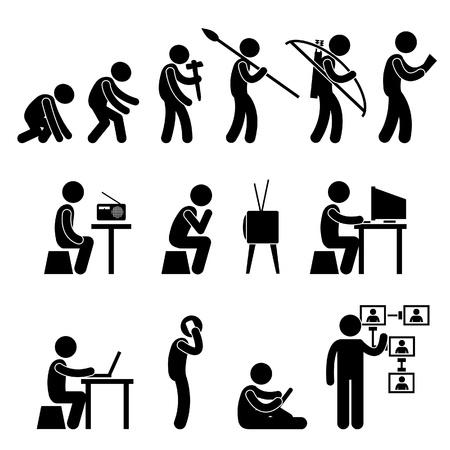 Man Human Evolution Technology Stick Figure Pictogram Icon