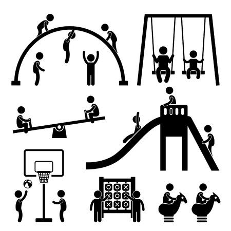 Ilustración de Children Playing at Playground Park Outdoor Stick Figure Pictogram Icon - Imagen libre de derechos