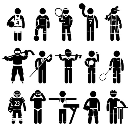 Sportswear Sports Attire Clothing Apparel Player Athlete Wear Shirt Stick Figure Pictogram Icon