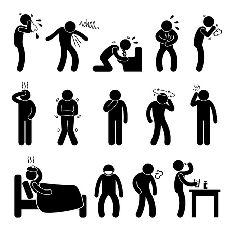 Illustration pour Sick ill Fever Flu Cold Sneeze Cough Vomit Disease Stick Figure Pictogram Icon - image libre de droit