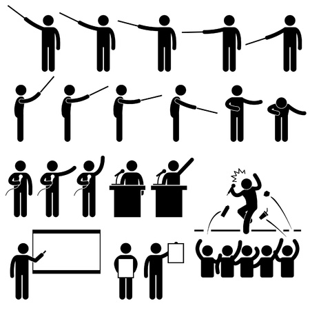 Speaker Presentation Teaching Speech Stick Figure Pictogram Icon