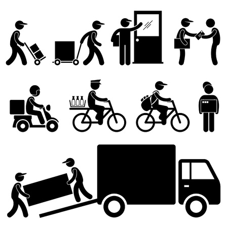 Illustration pour Pizza Delivery Man Postman Milkman Paperboy Courier Services Stick Figure Pictogram Icon - image libre de droit
