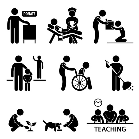 Illustration pour Man Charity Donation Volunteer Helping People Stick Figure Pictogram Icon - image libre de droit