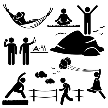 Illustration pour People Man Woman Healthy Living Relaxing Wellness Lifestyle Stick Figure Pictogram Icon - image libre de droit