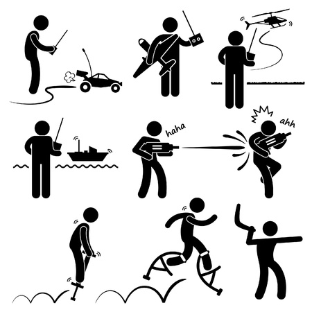 People Playing with Outdoor Toys Remote Control Car Plane Helicopter Ship Water Gun Jumper Boomerang Stick Figure Pictogram Icon