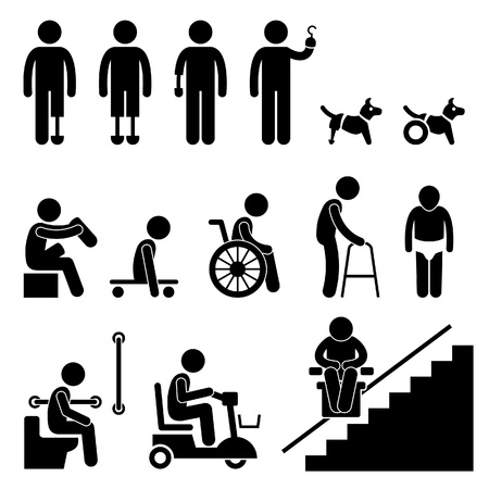 Amputee Handicap Disable People Man Tool Equipment Stick Figure Pictogram Icon