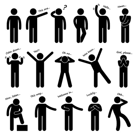 Illustration pour Man People Person Basic Body Language Posture Stick Figure Pictogram Icon - image libre de droit